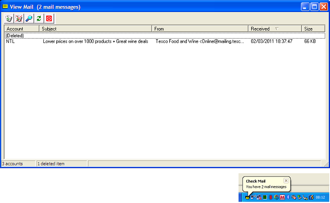 Click to view Cobra Check Mail 1.26 screenshot