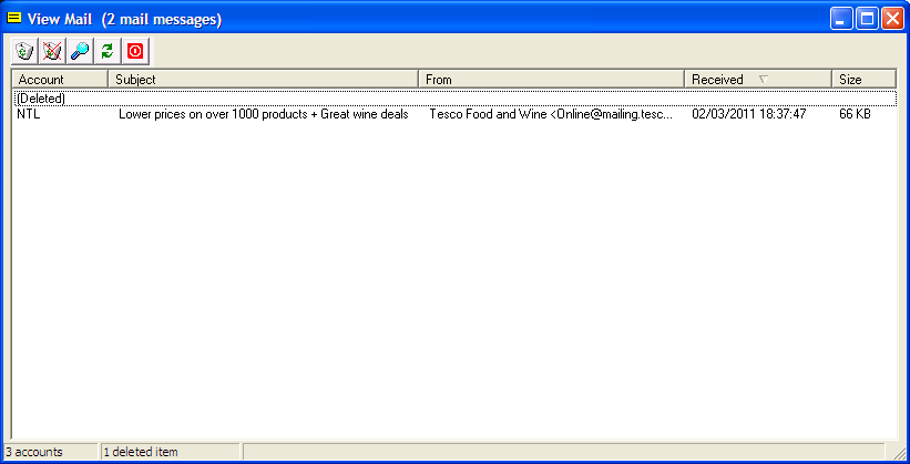 Example Cobra Check Mail screenshot